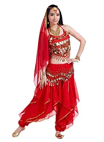 YiJee Danza del Vientre Trajes de Mujeres Rendimiento 5 Pcs Rojo