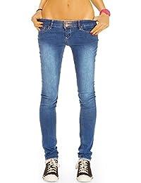 Bestyledberlin Damen Röhrenjeans, enge Stone Washed Basic Hüftjeans, Skinny Fit Stretch Jeans j03g