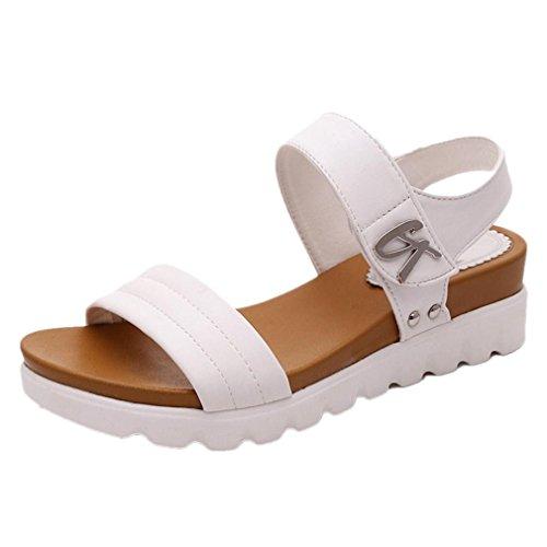 Uomogo sandali estivi scarpe con sandali donna , ragazze infradito scarpe basse aperte sandali da donna (asia 37, bianco 2)