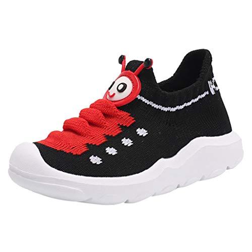 Rokoy Scarpe da Ginnastica Basse/Scarpe A Maglia Unisex -Bambini Stivaletti/Sneaker Appartamenti Cartone Animato Antiscivolo Traspiranti Morbida Casual Camminate All'Aperto Shoes(25,Nero)