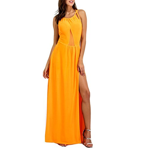 BigForest Damen sexy mesh hollow backless long party cocktail prom gown dress Yellow