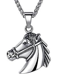 Aoiy - Collar con colgante de hombre de acero inoxidable, caballo, unisexo, cadena de 61cm, aap049