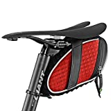 yyqxhly Borsa da reggisella Posteriore per Ciclismo Borsa da Sella Antipioggia 3D Shell Borsa da Bici Riflettente Borsa da Bicicletta Antiurto Accessori Bici MTB,Red
