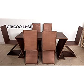 ARTIGIANATO VULCANO Moroccan Table with 6 Chairs