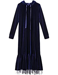 ca71c14fa3 SDF Manual Sweatshirt Sudaderas Otoño Mujeres 2018 Vestido de Cola de  Pescado de Terciopelo Delgado con Capucha Párrafo Largo…