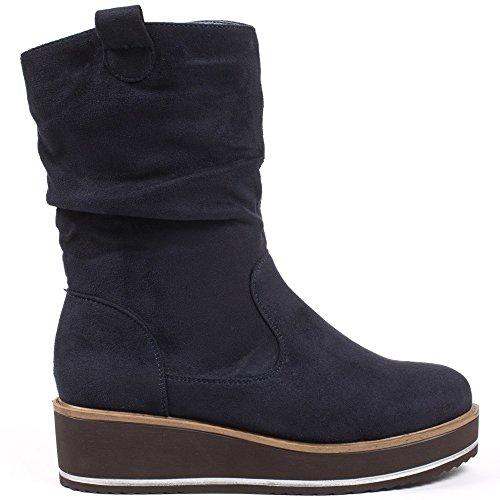 Ideal Shoes–Stivaletti con zeppa, effetto camoscio, mod. Iriana Marine