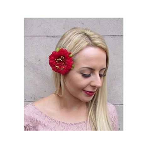 rot Pfingstrose Rose Blume Haar Clip Fascinator Brautjungfer 1950er vintage floral 4285 (1950er Haar)