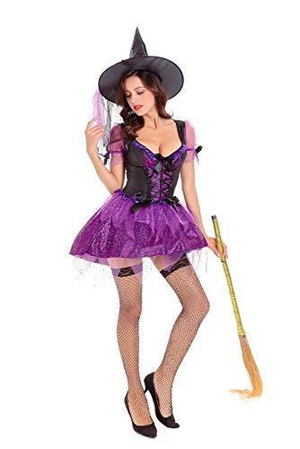 Yunfeng Hexenkostüm Damen Halloween Kostüm Queen Dress up Rolle Spielen Bühne