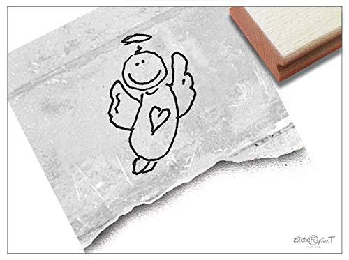 Stempel Motivstempel Schutzengel, Engel - Bildstempel zur Geburt für Karten Deko, Kinderstempel Kita Kinderzimmer Schule Basteln - zAcheR-fineT (groß ca. 19 x 30 mm) (Für Muttertag-ideen Die Kirche)