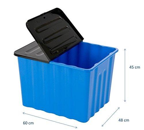 XXL Kunststoffbox in Blau mit Klappdeckel in Anthrazit. Mit 110 Liter Füllvolumen. Maße BxTxH: 60 x 48 x 45 cm.