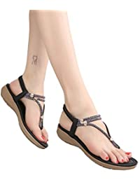 Geilisungren Zapatos de Playa Verano Sandalias de Punta Abierta Retro Zapatos Romanas Retro Bohemia Flip Flop