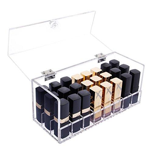 Rouge à lèvres Transparent Holder Acrylique Rouge à lèvres Organisateur Grand 24 Fentes Boîte de Rangement avec Couvercle pour cosmétiques Maquillage