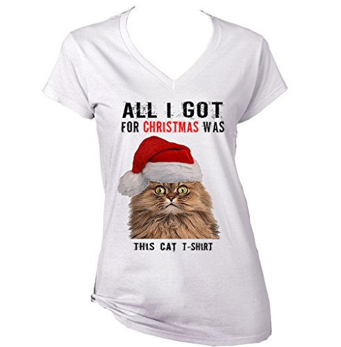 Teesquare1st Women's ALL I GOT FOR CHRISTMAS- CAT 2 White T-shirt Size Small