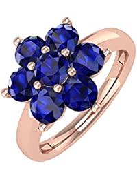 10K Gold Blue Sapphire Star Form Engagement Ring (11/4Karat)