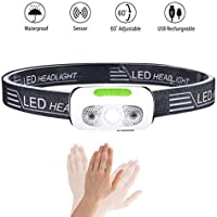 Head Torch, Karrong Ultralight Induction Running Headlight USB Rechargeable 5 Modes with Battery
