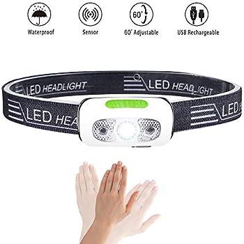 RENUS USB Rechargeable Sensor Headlamp Waterproof 280 Lumen White Light Headlamp