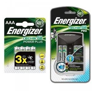 Energizer Accu Rechargeable Pro chargeur et 4 piles AA 2000 mAh avec 4 piles rechargeables AAA 850 mAh