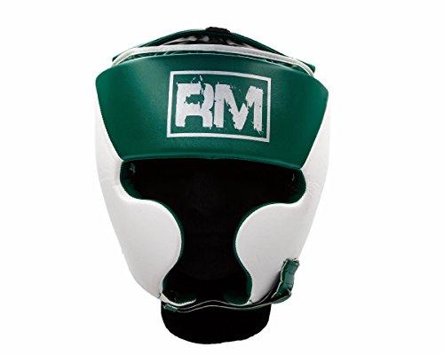 Ringmaster UK Casco Protector Para Boxeo Piel Sintética Color Verde y Blanco, hombre mujer, Green and White