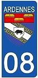 DECO-IDEES Grand ist, Set 2Aufkleber für Nummernschild–08Wappen Ardennen–Grand ist