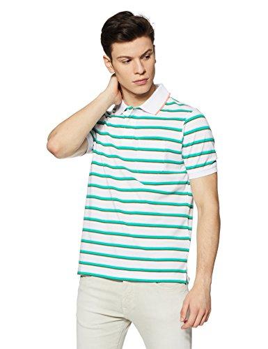 Peter England Men's Plain Regular Fit T-Shirt (PKW31700342M_WhiteWithGreen_Medium)