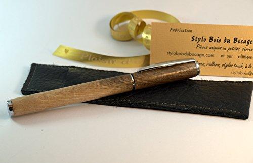 stylo-plume-fin-en-noyer-avec-son-etui-en-cuir