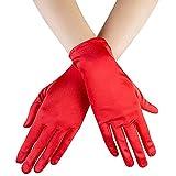 Ruiuzi Kurze Satin Handschuhe Handgelenk Länge Handschuhe Frauen Kleid Handschuhe Oper Hochzeit Bankett Kleid Handschuh für Party Dance (Rot, 22cm)