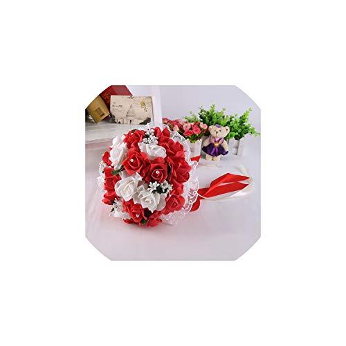 Kion Pasue bridal bouquets Wedding Bouquet Braut-Holding-Blumen-Rosen-Brautjungfern-Schaum-Blumen-Rose-Brautblumenstrauß Band Künstlich, Rot
