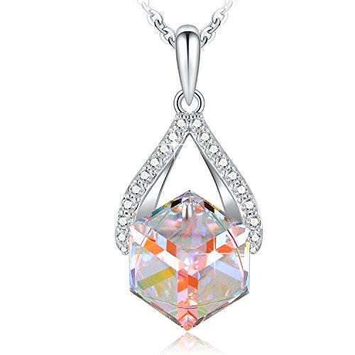 DRMglory Cube Anhänger Halskette mit Swarovski Elements Crystal, Schmuck für Frauen, Freundin, Mutter, Teenager-Mädchen Geschenke, 18