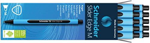 Schneider Slider Edge M Kugelschreiber (Dreikant-Stift mit Strichbreite M=Mittelstrich, Kappenmodell) 10er Packung cyan-schwarz