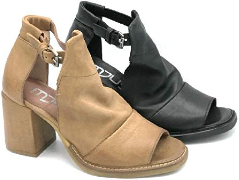 Mjus 862002 Sandalo Pelle Sabbia Nero Cinturino Tacco Largo 7 cm - Taglia Scarpa 35 Coloreee Sabbia | una vasta gamma di prodotti  | Uomini/Donna Scarpa