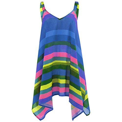 KaloryWee Women Rainbow Stripe Pullover Sleeveless Irregular Swing Vest Tank Shirt Tops Plus Size Blouse Mothers Day Gifts