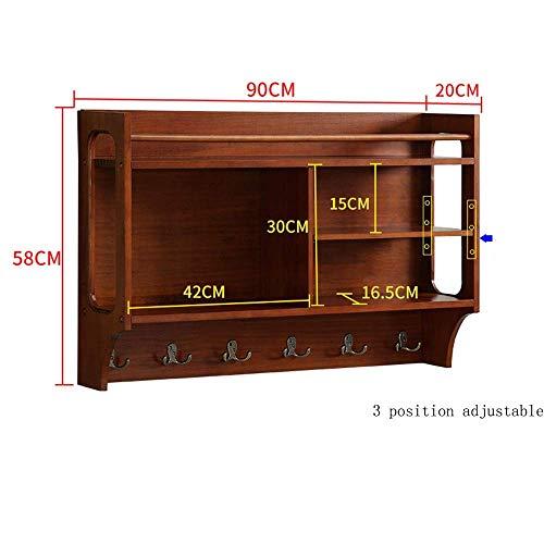 DYR Wandmontierte Garderobe mit 6 Haken Holz Moderne Display Home Decor Möbel Nussbaum Farbe