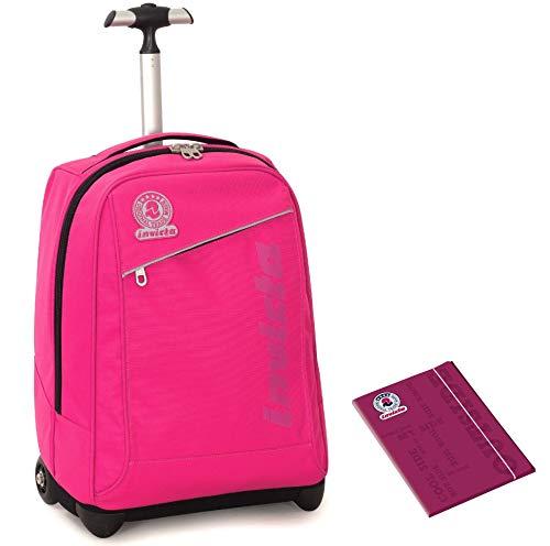 Trolley invicta + cartellina a4 - rosa - spallacci a scomparsa! 2in1 zaino 35 lt scuola e viaggio - idea regalo natale