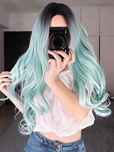 n, Perrücke Frauen Lang Wellig Locken Hitzebeständige Faser Long Wave Gelockt Wigs for Women Kunsthaar Mode Curly Haarteile, für Karneval Cosplay Party Maskerade Farbe,Green ()