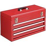 GOPLUS Werkzeugkoffer, Werkzeugkasten, Werkzeugsatz, Werkzeugkiste,Werkzeugbox, mit 3 Schubladen, Farbewahl, 520 x 215 x 300mm (Rot)
