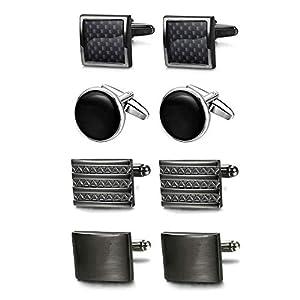 Adramata Krawattennadeln und Manschettenknöpfe Set für Herren Silber Manschettenknopf Krawattenklammer