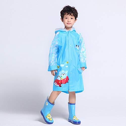 JYJSYM Schultasche Kinder Regenmantel Poncho Männer und Frauen Cartoon verbunden Umweltschutz PVC Outdoor-Wander-Tasche aufblasbare Kappe, Blauer Bär, XXL