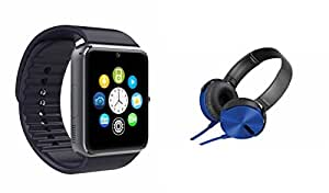 MIRZA Bluetooth GT08 Smart Wrist Watch & Extra Extra Bass XB450 Headphones for SAMSUNG GALAXY E 5(Extra Extra Bass XB450 Headphones & GT08 Smart Watch Watch Phone with Camera & SIM Card Support Hot Fashion New Arrival Best Selling Premium Quality Lowest Price with Apps like Facebook,Whatsapp, Twitter, Sports, Health, Pedometer, Sedentary Remind,Compatible with Android iOS Mobile Tablet-Assorted Color)