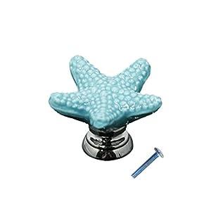 Dolity Möbelknopf Keramik Möbelknauf Möbelgriff Schublade Shabby Vintage Maritim Seestern – blau