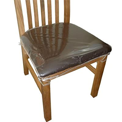 4 x Clear Plastic Dining Chair Seat Cushion Covers Protectors. - inexpensive UK light shop.