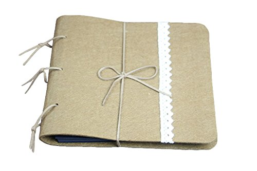 Yalulu Gute Qualität Filz Spitze Handgemachte Fotoalbum, Scrapbook zum Selbstkleben Notizbuch Gästebuch, DIY, Vintage Style (Kaffee)
