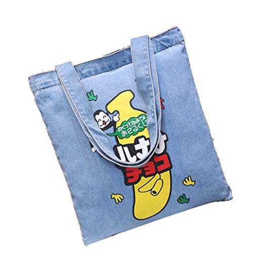 Canvas Denim Tote (Serria® Women Canvas Denim Tote Große Kapazität Brief Handtaschen Shopping Schultertasche Perfekt zum Einkaufen, Laptop, Schulbücher)