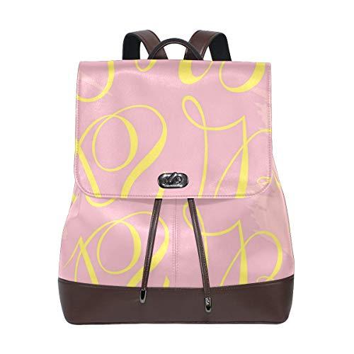 AIMILUX Girl Power Pinkish Artistic Activism Theme Aufklärung,Leder Rucksack Frauen Rucksack Casual Sporttasche