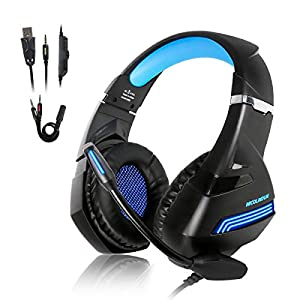 Gaming Headset für PS4 Xbox One Gaming Kopfhörer 3,5 mm Jack LED Gaming Headset mit Bass Stereo Mikrofon und…