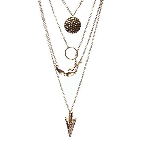 collar de las mujeres, FEITONG las mujeres de múltiples capas irregular del oro Cristal colgante de collar de la declaración de la cadena