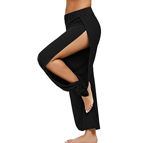 hahashop2 Damen Sport Leggings Yogahose Leggins Hoher Bund Sporthose Blickdicht Leggings Fitnesshose - Elastische Sporthose mit geteilter Gabel -