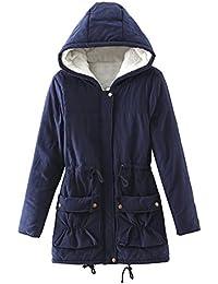 DOGZI Abrigo Mujer Invierno, Espesar Sección Media y Larga Abrigo de Algodon Abrigo Sudaderas con