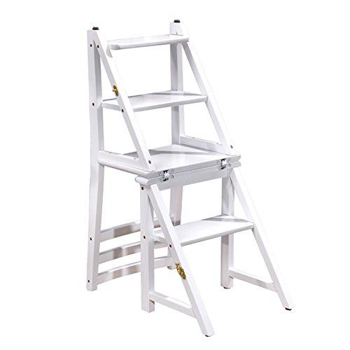 2 Schlag-haus Schritt (YANZHEN Leiter Sitz Stuhl Falte Multifunktions Regale Stufenleiter Dual-Use-Mahlzeit Hocker Gummi Holz, 3 Farben ( Farbe : Ivory White ))