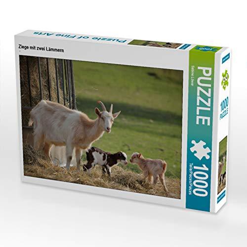 CALVENDO Puzzle Ziege mit Zwei Lämmern 1000 Teile Lege-Größe 64 x 48 cm Foto-Puzzle Bild von Sabine Löwer (Bilder Ziegen Von)
