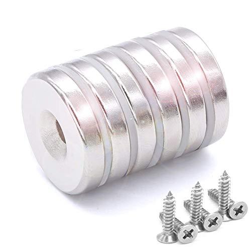 6 Stück Neodym Disc Senkkopf Loch Magnete Stark Permanent Seltenerd Magnete Mit 6 Schrauben Für Handwerk